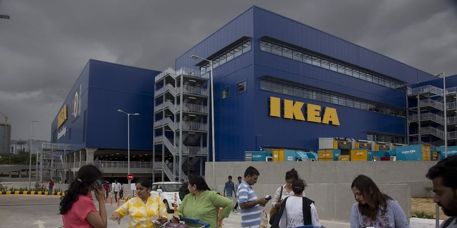 FILE- In this Aug. 9, 2018, file photo, Customers stand outside Ikea's first store in India as it opened in Hyderabad, India. (Photo | AP)