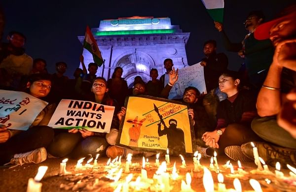 People participate in a candle light march to offer tributes to the martyred CRPF jawans. (Representational image | PTI)