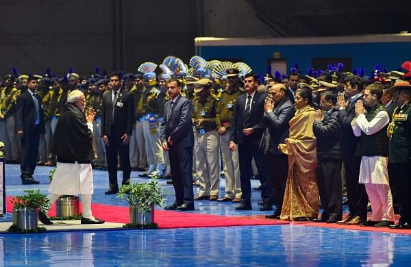 Prime Minister Narendra Modi after pays tribute to the martyred CRPF jawans who lost their lives in Thursday's Pulwama terror attack after their mortal remains were brought at AFS Palam in New Delhi Friday Feb 15 2019. | PTI