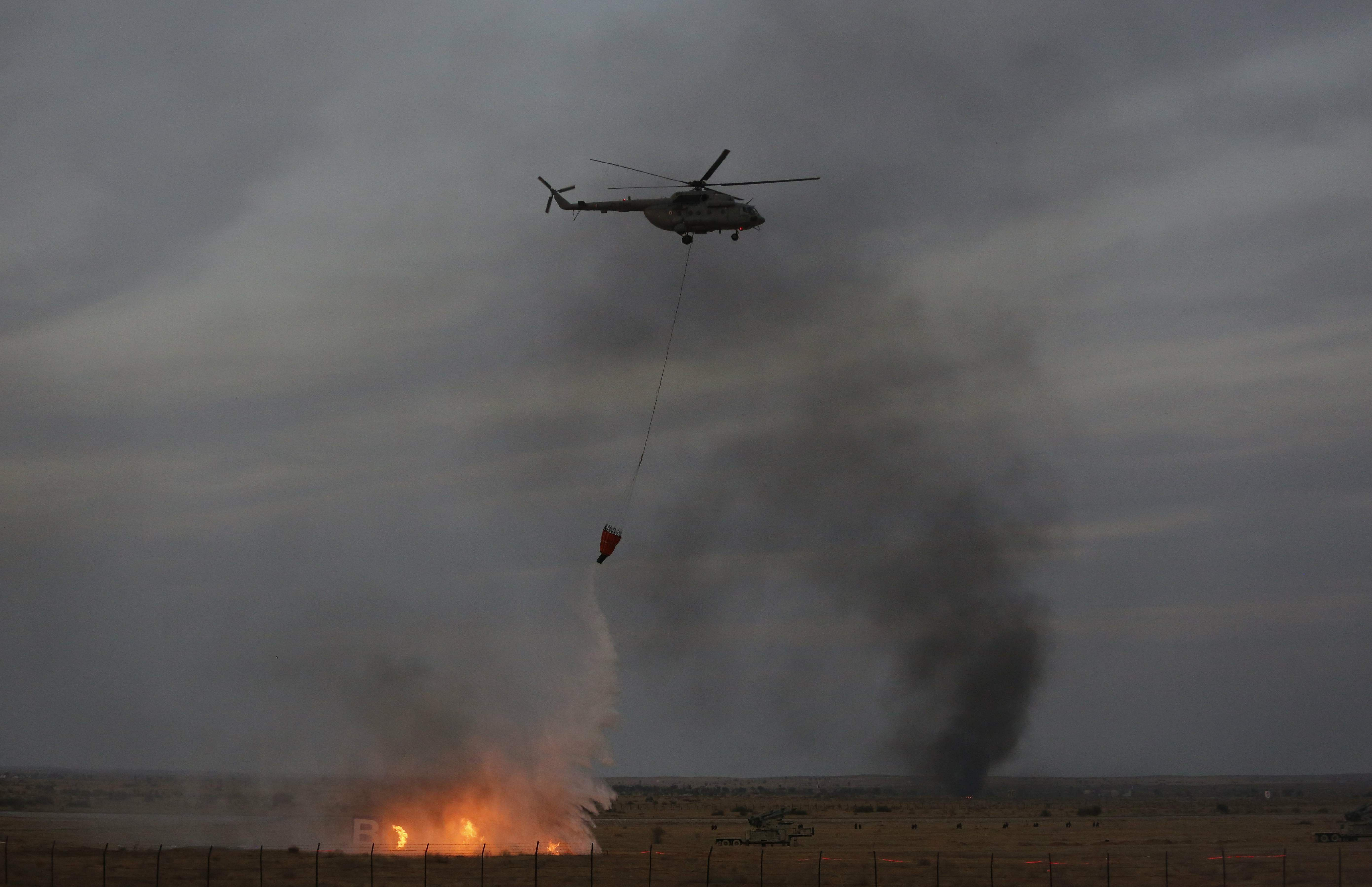 IAF, Vayu Shakti 2019, M 17 helicopter, Fire dousing