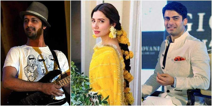 Pakistani artists and actors (from left) Atif Aslam, Mahira Khana, Fawad Khan