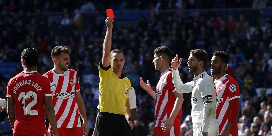 Sergio Ramos shown a red card