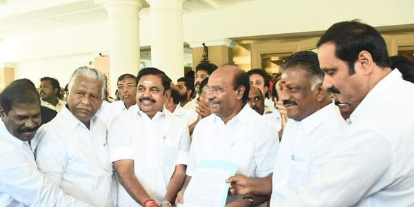 Panneerselvam and Palaniswami received Ramadoss and PMK youth wing leader Anbumani Ramadoss at a hotel in Adyar by presenting shawls. | Express Photo Services
