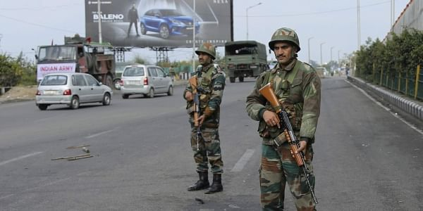 Indian army soldiers keep vigil during the fourth consecutive day of curfew in Jammu, the winter capital of Jammu and Kashmir state, India, Monday, Feb.18, 2019. | AP