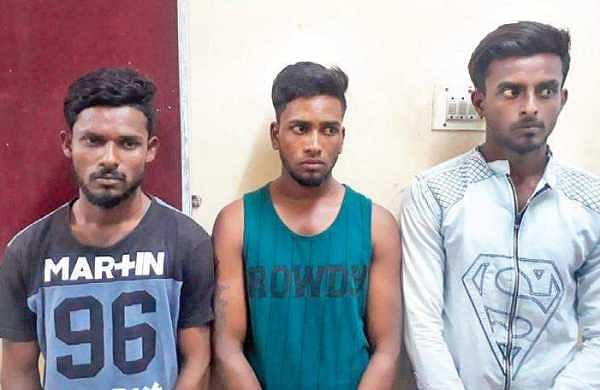 (From left to right): S Vijay (23), K Pradeep (23) and K Aravind (23), the three youth suspected to have sexually assaulted the minor girl in Velankanni | Express