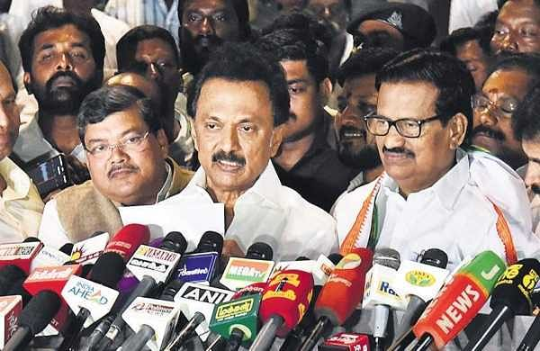 DMK president M K Stalin, with Congress TN chief K S Alagiri and other Congress and DMK leaders, announces the poll pact between the two parties in Chennai on Wednesday | P jawahar