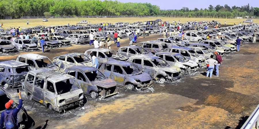Aero India parking area fire