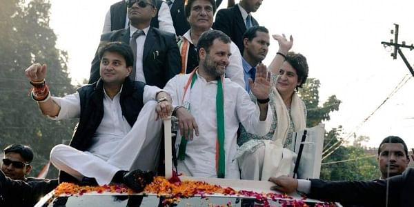 Rahul Gandhi, Priyanka Gandhi and Jyotiraditya Scindia wave to the crowds at the end of the Congress party's mega roadshow event in Lucknow, Uttar Pradesh on 11 February 2019. UP Congress chief Raj Babbar is seen. (Photo | UP Congress/ Twitter)