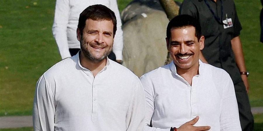 Congress chief Rahul Gandhi and his brother-in-law Robert Vadra.