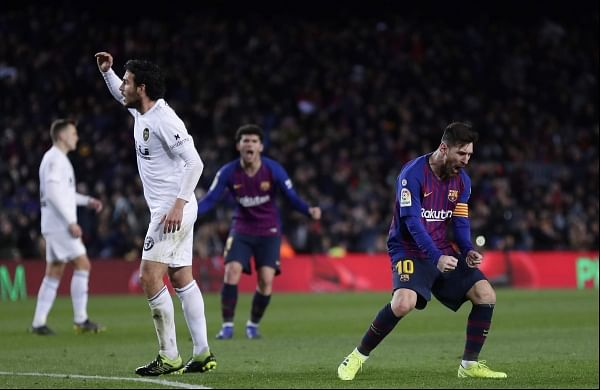 695800140 Lionel Messi double earns Barcelona a point in thriller with Valencia- The  New Indian Express