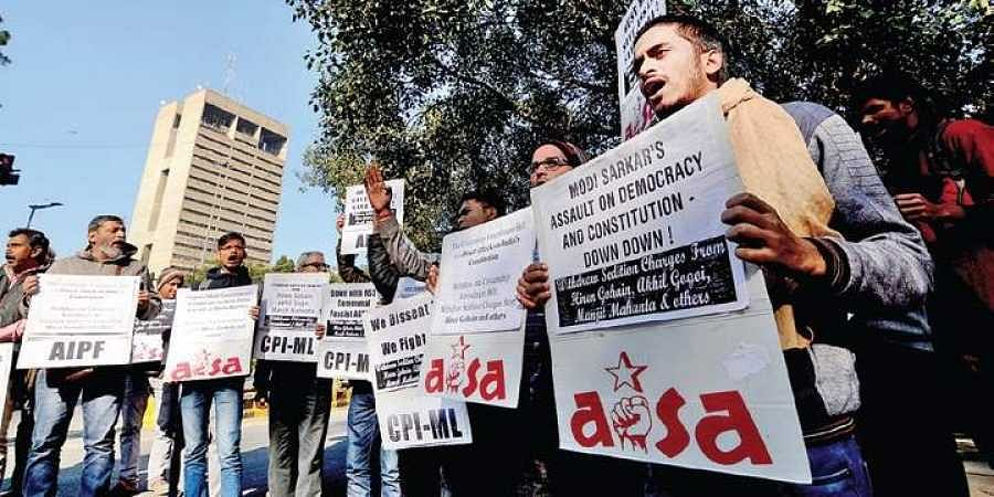 Members of AISA and AICCTU with placards during the protest against the Citizenship (Amendment) Bill at Jantar Mantar in New Delhi. File pic