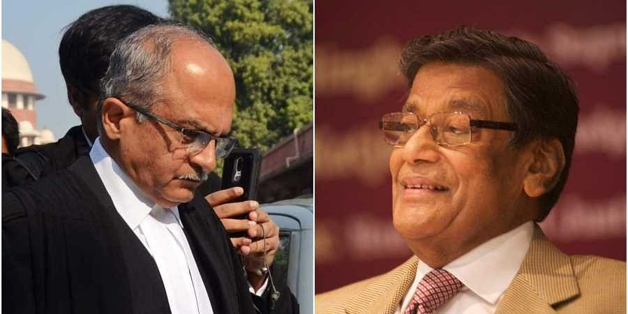 Supreme Court Advocate Prashant Bhushan (L) and Attorney General to government of India K K Venugopa