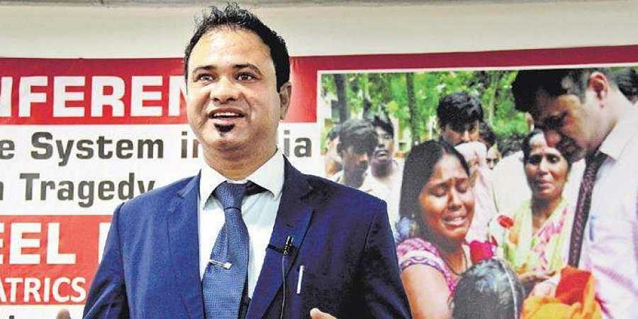 Dr Kafeel Khan, who was suspended and arrested following deaths of infants at BRD Medical College in August 2017, speaks at a press conference in Hyderabad on Thursday.