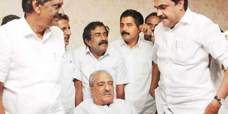 PJ Joseph, KM Mani and Jose K Mani after party's steering committee meeting.