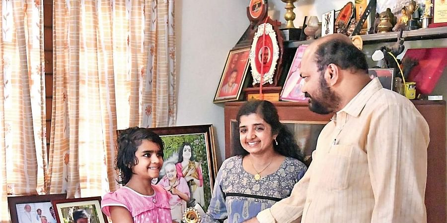 LDF candidate P Rajeev visiting late  CPM leader Simon Britto's family at Vaduthala in Kochi on Sunday.