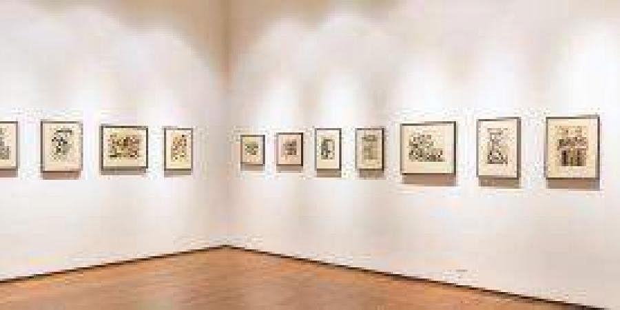 Chittaprosad's watercolour and linocut prints at Kochi-Muziris Biennale 2018.