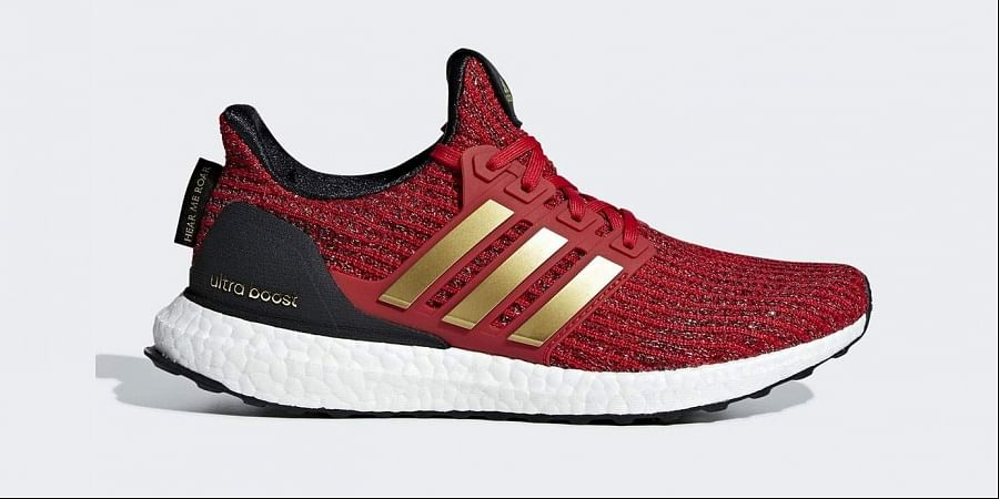A House of Lannister inspired sneaker from 'adidas x Game of Thrones Ultraboost' collection. (Photo | adidas)
