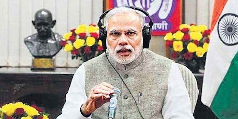 Prime Minister Narendra Modi interacting with the public through Mann Ki Baat