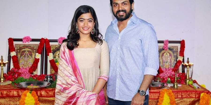 Actors Rashmika Mandanna and Karthi. (Photo | Rashmika Mandanna Twitter)