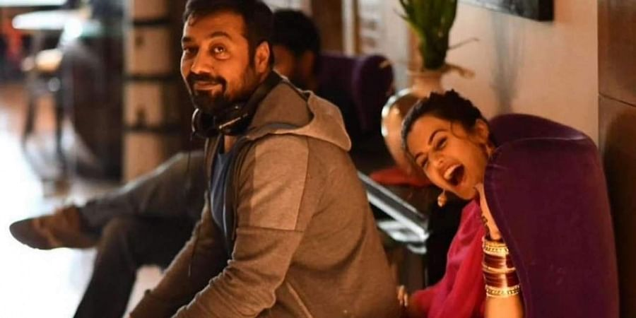 Director Anurag Kashyap with actress Taapsee Pannu on Manmarziyaan sets.