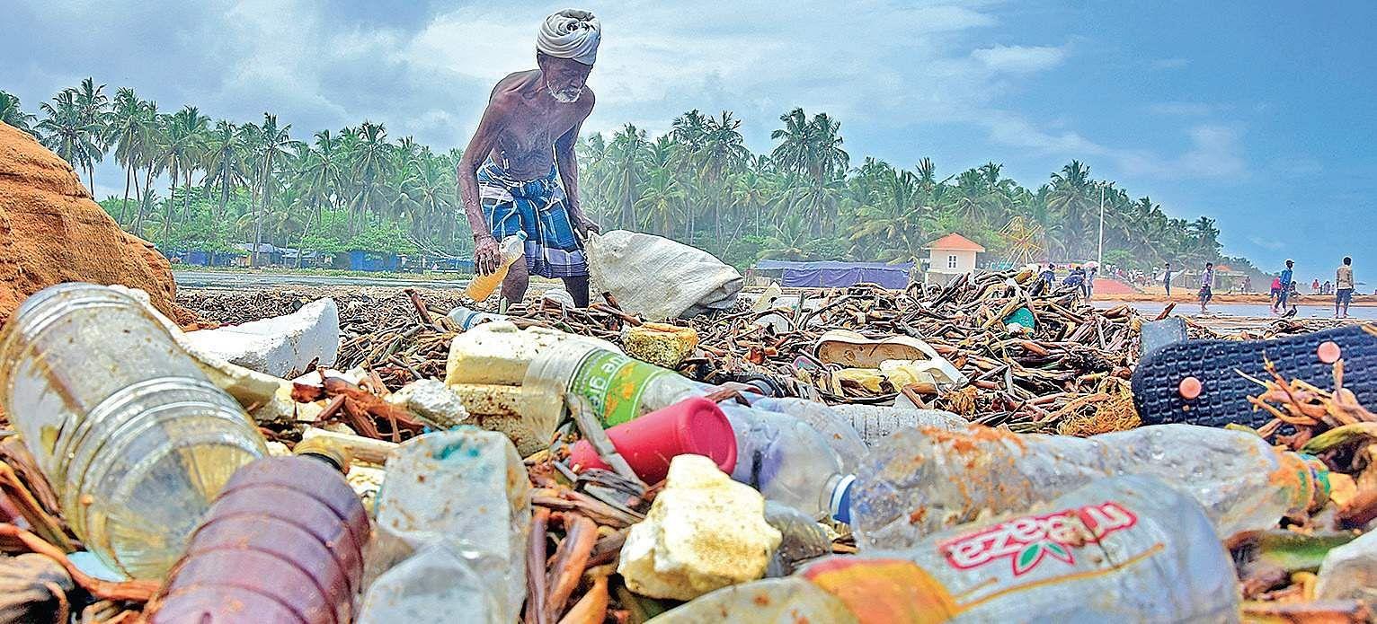 Plastic pollution littering