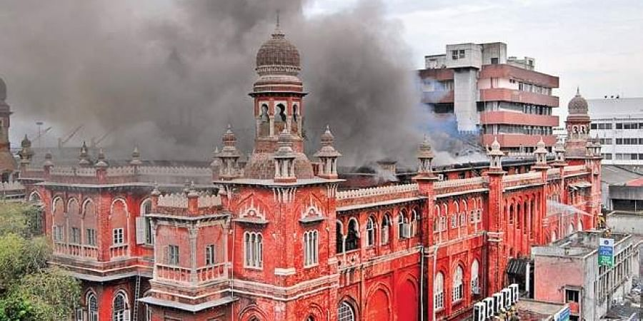 File picture of a fire raging at SBI building in chennai in 2014.