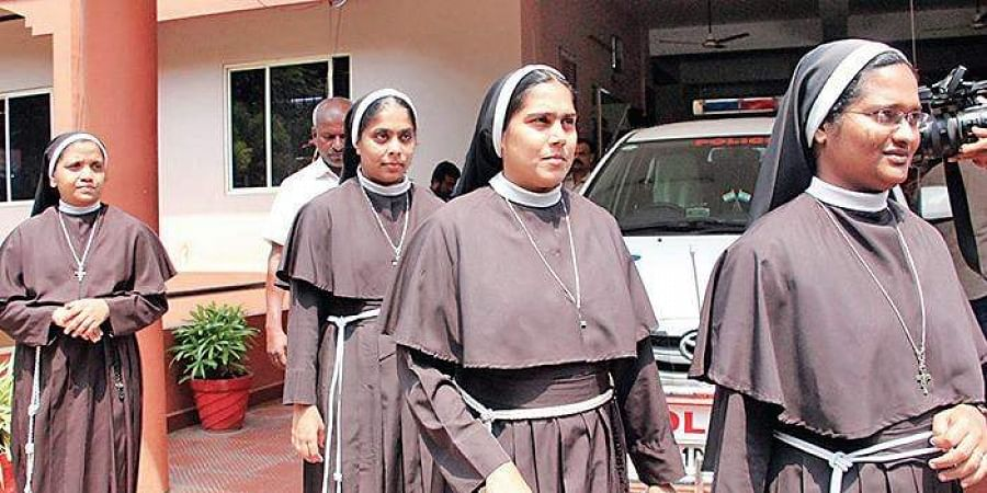 Nuns coming out of the Kottayam SP's office after meeting SP Hari Sankar on Saturday.