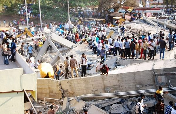 Rescue teams on spot of the building collapse in Karnataka's Dharwad. | Express Photo Services