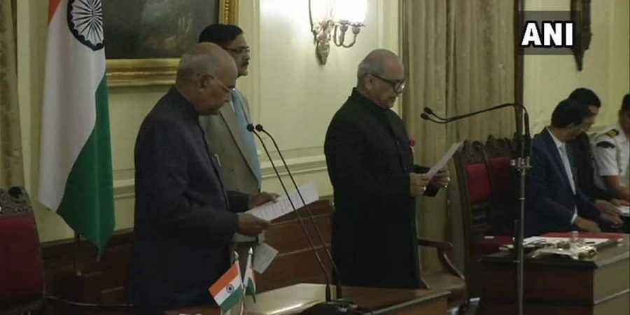 Justice Pinaki Ghose takes oath as the first Lokpal of India on 23 March 2019. (Photo | ANI Twitter)