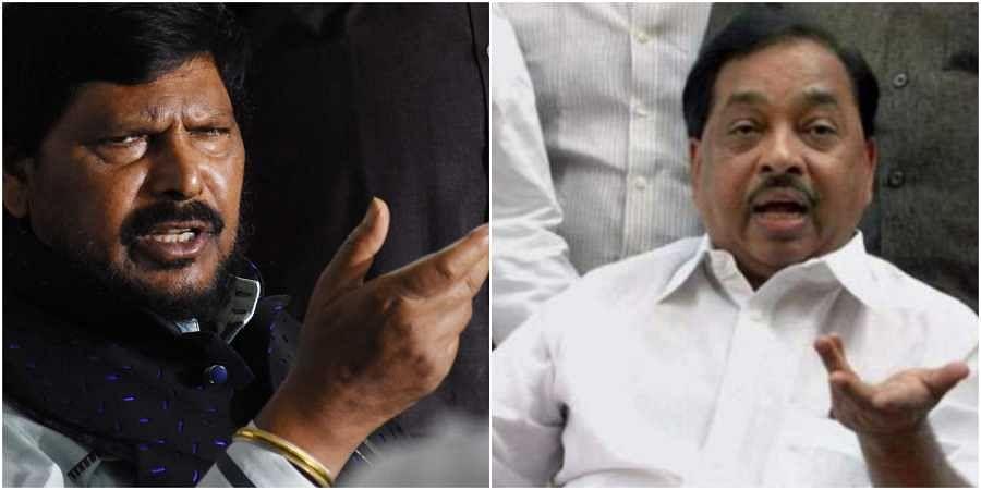 (L-R) BJP allies Ramdas Athawale and Narayan Rane. (Photos | File)