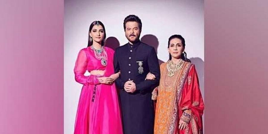 Anil Kapoor with wife Sunita and daughter Sonam. (Photo | Twitter)
