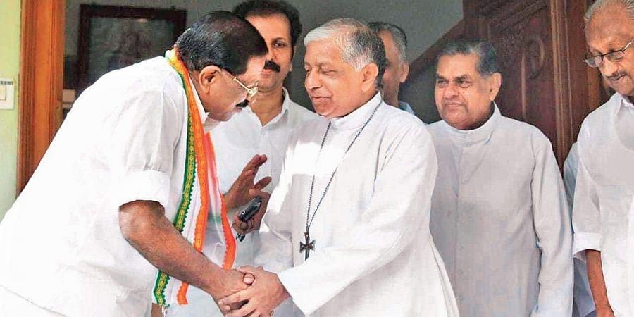 UDF candidate Rajmohan Unnithan calls on  Kannur Latin Diocese Bishop Alex Joseph Vadakumthala on Monday