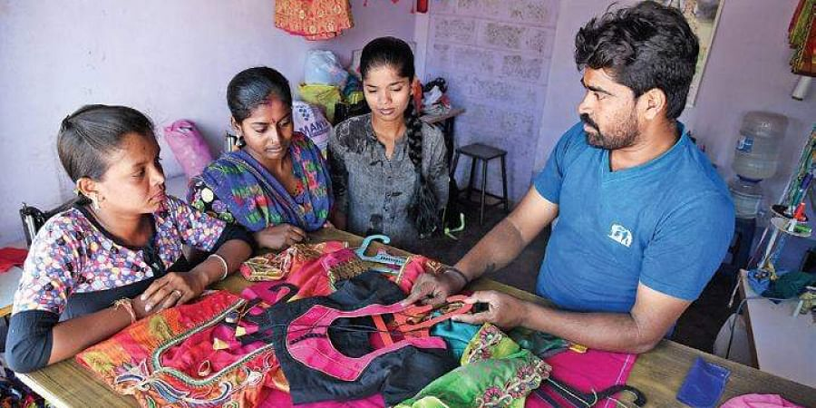 Gopal works as a farmer as well as a tailor to eke out a living
