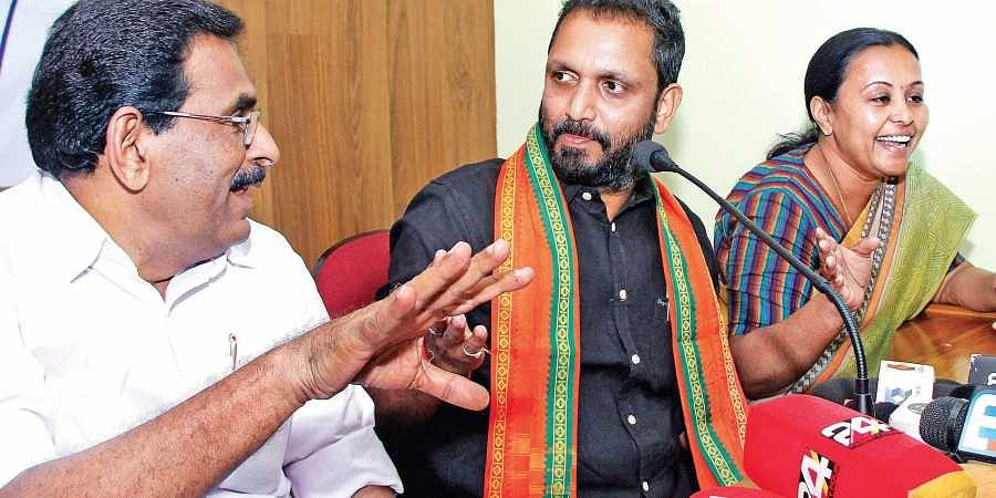 Candidates Anto Antony (UDF), K Surendran (NDA) and Veena George (LDF) making their point at the 'Janavidhi 2019,' the election programme organised by the Pathanamthitta Press Club on Wednesday