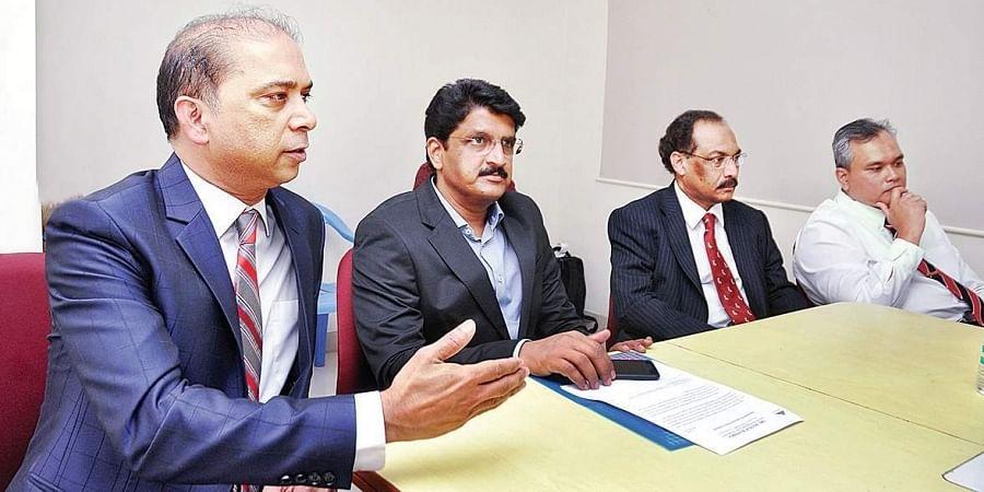 Dr Vijay Shetty , Vice president , Indian Association of sports medicine addressing the press regarding the 2nd Annual conference of Indian Biologics Othopaedic Society at Sri Ramachandra hospital in Porur on Thursday.