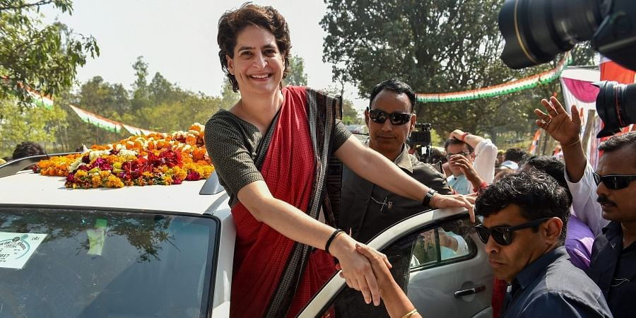 Congress General Secretary and Uttar Pradesh - East incharge Priyanka Gandhi Vadra during her three-day campaign tour ahead of Lok Sabha elections in Ayodhya. (Photo | AP)