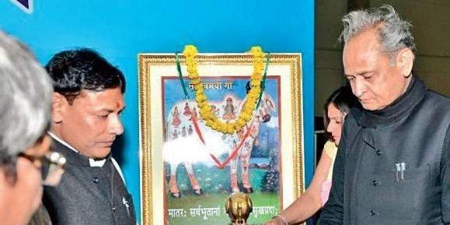 Rajasthan CM Ashok Gehlot inaugurating the 'Gau Raksha Sammelan' in Jaipur. | Express