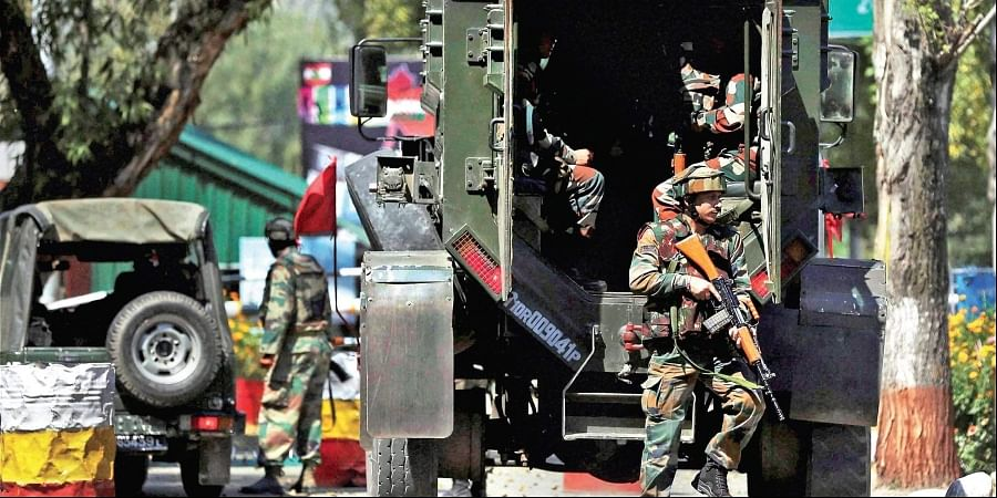 Army personnel in action inside the brigade camp at Uri in Jammu and Kashmir after an attack by Jaish fidayeens in 2016.