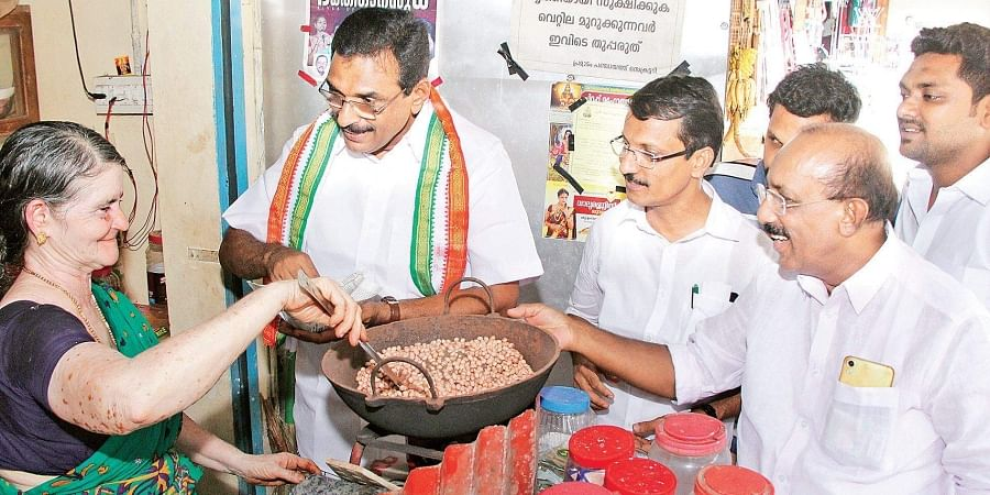 UDF candidate for Pathanamthitta Lok Sabha constituency Anto Antony seeking votes at Poonkavu near Konni.
