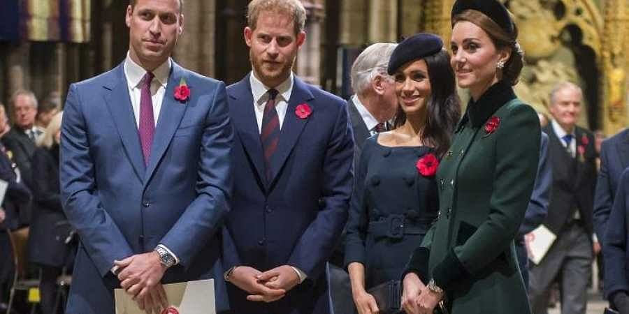 (L-R) Britain's Prince William, Duke of Cambridge, Prince Harry, Duke of Sussex, Meghan, Duchess of Sussex and Catherine, Duchess of Cambridge. (Photo | AFP)