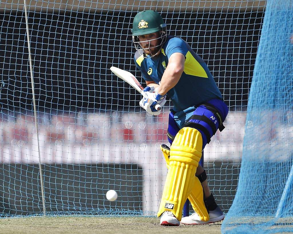 Australia's captain Aaron Finch bats in the nets during a training session ahead of their third ODI match against India in Ranchi. | AP