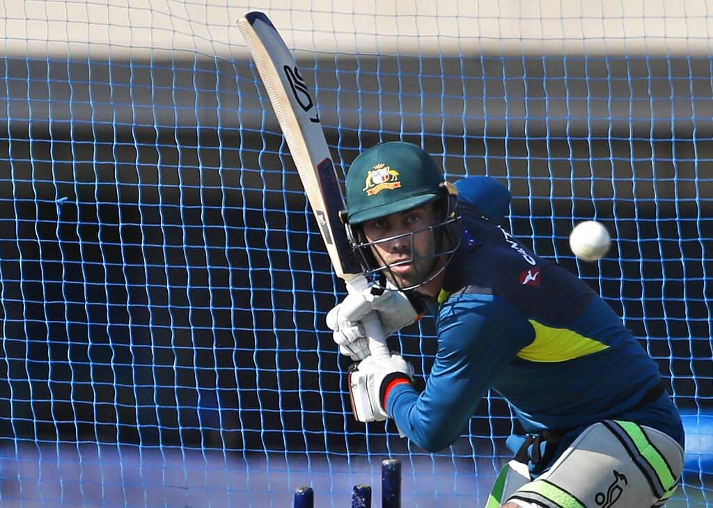 Australia's Glenn Maxwell bats in the nets during a training session.