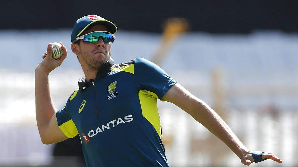 Australia's Jhye Richardson participates in a training session ahead of their third ODI match against India in Ranchi.