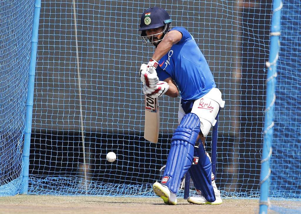 India's Kedar Jadhav bats in the nets during a training session ahead of their third ODI match against Australia in Ranchi.