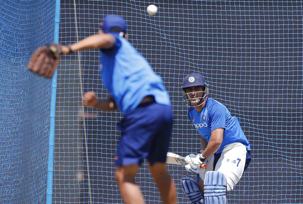 MS Dhoni bats in the nets during a training session ahead of their third ODI match against Australia in Ranchi.