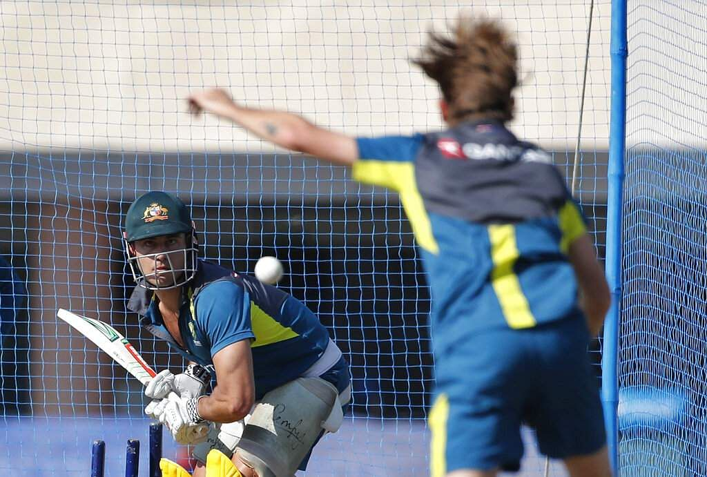Australia's Adam Zampa, right, bowls in the nets to teammate Marcus Stoinis during a training session ahead of their third ODI match against India in Ranchi. | AP