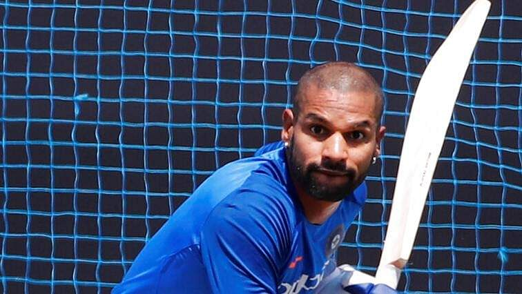 India's Shikhar Dhawan bats in the nets during a training session ahead of their third ODI match against Australia in Ranchi.