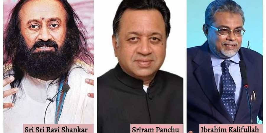 Images of Sri Sri Ravi Shankar, senior advocate Sriram Panchu and Justice FM Kaliifullah, who have been appointed ty the Supreme Court as  mediators in Ayodhya dispute.