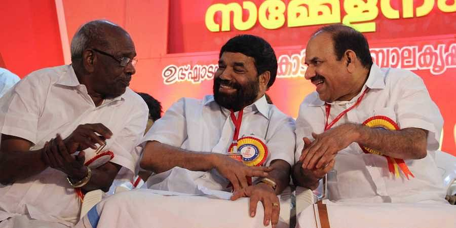 CPM Kottayam district secretary VN Vasavan (C), who will contest from the constituency, with Electricity Minister M M Mani and state secretary Kodiyeri Balakrishnan