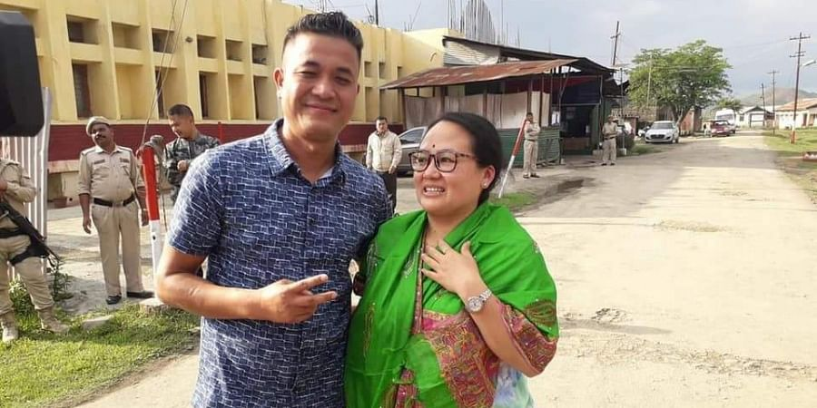 Manipur journalist and his wife following release.